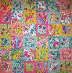 Kaffe Fassett Spring Floral Parade Kit, 66x66 inches, pattern in Kaffe Fassett's 'Quilt in the Sun'