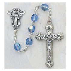 6MM Aurora Borealis ZIRCONDecember Birthstone Rosary Cross Crucifix Necklace Catholic Christian Religious -- Continue to the product at the image link.(This is an Amazon affiliate link)