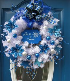 Blue and White Christmas Wreath, Christmas Wreath, White and Blue Wreath, Holiday Wreath, Door Wreath, Entryway Wreath, Holiday Door Wreath by MnMadeWreathsNThings on Etsy