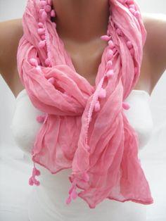 Women pink blue Shawl Scarf  Headband Necklace Cowl by DIDUCI, $13.90