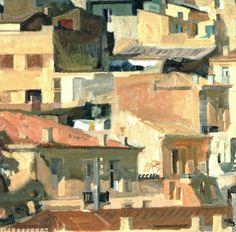 'Athens IV', 1968 by Panayiotis Tetsis Greek Paintings, Art Paintings For Sale, Original Paintings For Sale, Oil Paintings, Street Art, Urban Painting, Post Impressionism, Art Database, Gravure