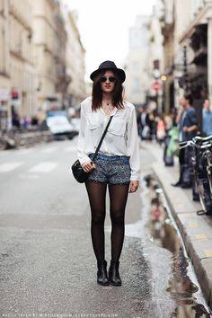 Mixed Textile Denim Shorts :Carolines Mode | StockholmStreetStyle