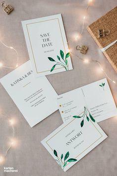 Bei der Hochzeitspapeterie 'Botanic Love' ist keine Karte komplett identisch, alle Details sind liebevoll aufeinander abgestimmt.