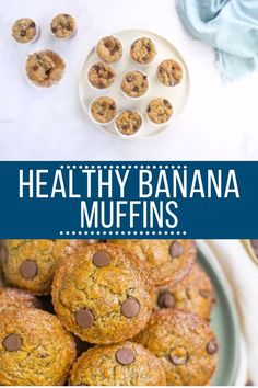 These Healthy Banana Protein Muffins are the perfect nutritious breakfast! Gluten/dairy free and packed with protein, they're delicious + easy to make! Great for kids and adults - these gluten free muffins are easily customized and so yummy! Protein Dinner, Protein Snacks, Healthy Protein, High Protein, Healthy Muffin Recipes, Healthy Muffins, Healthy Baking, Healthy Desserts, Snack Recipes