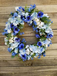 Beautiful Blue and Cream Front Door Wreath, Front door wreath, hydrangea, Wedding Wreath, Wreath Great All Year Round, Door Wreath by FarmHouseFloraLs on Etsy