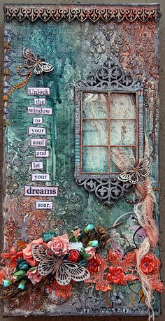 Let Your Dreams Soar on Canvas. A mixed media canvas by Michelle Grant. #MixedMedia