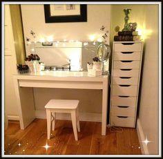 Simple White Makeup Vanity Table Chair And Cabinet With Lights And Mirror