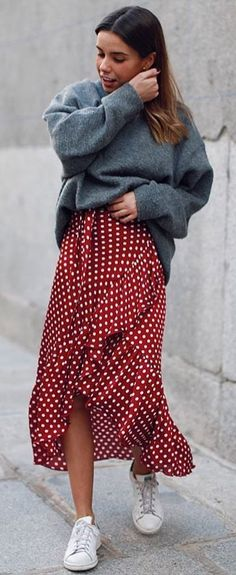 #spring #outfits woman wearing gray sweater and red and white polka-dot maxi skirt. Pic by @justmode_