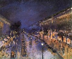 Camille Pissarro Boulevard Montmartre at Night 1897, oil on canvas, National Gallery, London