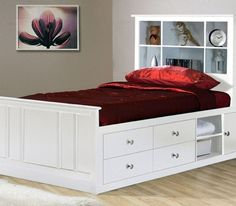 Simple Bed Design With Storage Kids Beds With Storage, Bed Designs With Storage, Twin Storage Bed, Platform Bed With Storage, Bed Frame With Storage, Storage Design, Storage Headboard, Platform Beds, Queen Beds With Storage
