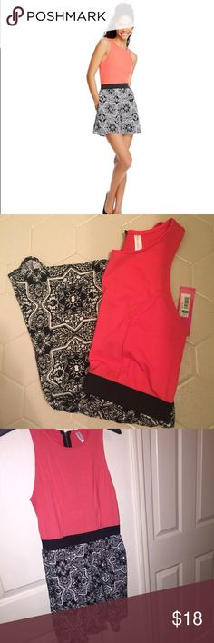 "NWT Cutout Back Romper 🌼Coral upper (stretchy), Black & white bottom (not stretchy), Elastic waistband                                                                       🌼Zipper and cutout in back, Side pockets                                    🌼Never worn, Brand new w/ tag                                                            *Please ask any questions you may have before purchasing* 10% OFF 2+ ITEMS - USE THE ""ADD TO BUNDLE"" FEATURE !!! Xhilaration Pants Jumpsuits & Rompers"