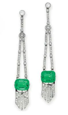 A GROUP OF ART DECO EMERALD AND DIAMOND JEWELRY   Comprising a pair of ear pendants, each suspending a cushion-cut emerald with an articulated single-cut diamond fringe, from two single-cut diamond chains, to the collet-set diamond surmount; and a ring, set with a cushion-shaped cabochon emerald, within a single and circular-cut diamond sculpted surround, mounted in platinum, circa 1925