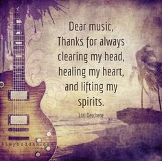 """Dear Music. Thanks for always clearing my head, healing my heart & uplifting my spirits""  #LoriDeschene  #BeSomebody #Inspire #musically #inspiration #inspirationalquotes #music #inspired #inspiring #love #lovequotes #lovemusic #BookOfLove #BookOfLoveMusic #DuranDuran #BoL #NewWave #Electro"