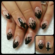 Hand painted Black Drips & Crosses!! Love this! Sculpted almond shape gel nails ♥ Follow me on Instagram @hakyree_