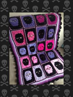 Skull blanket crochet pattern skull by DollyDaydreamCrochet