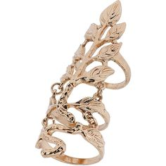 Miss Selfridge Leaf Armour Ring ($18) ❤ liked on Polyvore