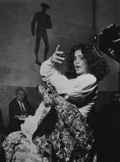 Spain. Flamenco dancer La Chunga and painter Joan Miró at a dance hall  in Escudellers street, Barcelona, 1954