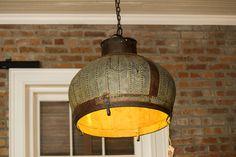Repurposed industrial dome light #Bucket, #IndustrialLight, #Metal, #Recycled, #Vintage