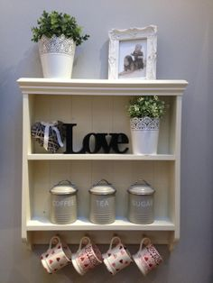 Shabby Chic Country Style Cream Wooden 2 by shelvesmadewithlove, £48.00