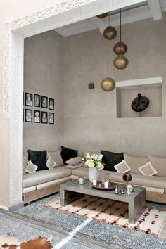 Beautiful moroccan inspired sitting nook in neutral colors