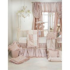 In sweet pinks with dimensional rosettes on sheer voile lined with rich, silk-like fabric, the Paris crib bedding by Glenna Jean creates the perfect nursery for your little princess. The Crib Bedding Set includes a quilt, sheet, and crib skirt. Pink Bedding Set, Nursery Bedding Sets Girl, Baby Nursery Furniture, Nursery Room Decor, Girl Nursery, Nursery Ideas, Baby Bedding, Cream Nursery, Room Ideas