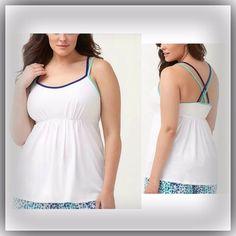 Cacique Sleepwear Plus Size 22/24 White Sleep Tank Top Crisscross Straps PJ  #LANEBRYANTCacique #Sleepshirt #Everyday