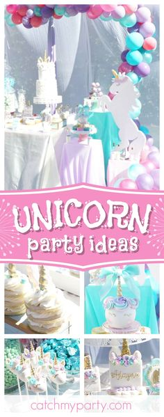 Take a look at this Magical Unicorn Party for twins! The birthday cakes are stunning! See more party ideas and share yours at CatchMyParty.com #unicorn #twinsbirthday