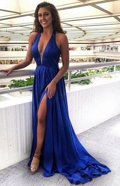 Royal Blue Prom Dresses, V Neck Prom Dresses, Blue Evening Dresses, Evening Party Gowns, Dance Dresses, Formal Dresses, Long Dresses, Homecoming Dresses, Blue Satin Dress