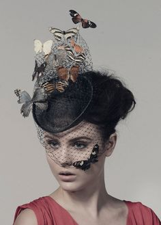 Mariposas reales montan en velo del birdcage en un sombrero de Cóctel de sinamay. Este sombrero es una pieza discreta. Luz y fácil de usar, este se fija con elástico para ajuste alrededor de la parte posterior de la cabeza. Las mariposas se fortalecen. Las mariposas son de origen ético. Para un extra £40 que las mariposas pueden copiarse en pan de oro, ver foto de detalle. Por favor, póngase en contacto con si desea esta opción.