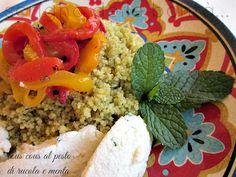 cous cous al pesto di rucola e menta, profumato e arricchito da peperoni grigliati e quenelle di ricotta condita.