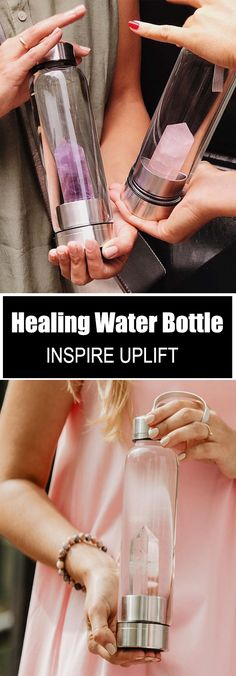 Healing Natural Quartz Water Bottle - ★★★★★ (5/5)  Now you can make your own powerful crystal elixir water with this elegantly handcrafted, Healing Natural Quartz Water Bottle!  Currently 50% OFF with FREE Shipping! Healing Stones, Healing Crystals, Stones And Crystals, Things To Buy, Good Things, Stuff To Buy, Water Bottles, Voss Bottle, Chakras