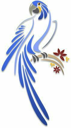 Parrots - Illustrations - Islamic art and graphics Stencil Patterns, Stencil Designs, Paint Designs, Bird Stencil, Stencil Art, Damask Stencil, Art And Illustration, Grafik Art, Bird Silhouette Art