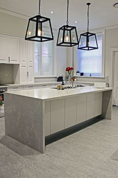 5110 Alpine Mist Caesarstone - these pendants? Home Decor Kitchen, Kitchen Benchtops, Cottage Kitchen Design, Home Decor, Caesarstone Kitchen, Cottage Style Kitchen, Home Kitchens, Small Dining Room Table, Kitchen Renovation