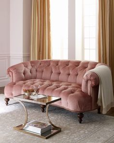 Brussel Blush Tufted Sofa - Old Hickory Tannery ( Sofa Wood Fabric Classic Solid Upholstered Brown Pink Tufted Living room)