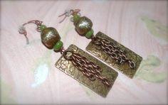 Basha Bead copper Long dangling jade earrings by HummingBirdEggs