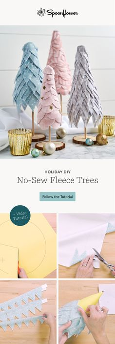 Looking for a new DIY project to brighten your home during the holidays? These no-sew trees are the perfect way to do just that (and they'll be done in just an afternoon)! Inspired by Happy Happy Nester's blog post, this Fleece fat quarter project is perfect for the entire family. #fatquarterproject, #fleece, #handmadeholiday, #holidayDIYprojects, #no-sewDIYproject Christmas Tree Crafts, Christmas Sewing, Christmas Love, Christmas Colors, Christmas Projects, Holiday Crafts, Holiday Fun, Diy Crafts For Gifts, Crafts To Make