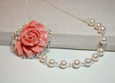 Salmon Coral Necklace, Blush Bridesmaid Jewelry, Flower Jewelry, White pearl Necklace, Gift for Her Fall Jewelry Free earrings wedding party on Etsy, $18.00