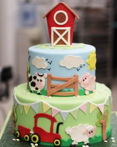 Farm themed First Birthday Cake Farm themed first Birthday/ Baby Shower Cake<br> The premier bakery in northern NJ. We create stunning wedding cakes, birthday cakes and custom cakes along with delicious pastries. Farm Birthday Cakes, Animal Birthday Cakes, Farm Animal Birthday, Custom Birthday Cakes, Custom Cakes, Birthday Banners, Girls 2nd Birthday Cake, Birthday Invitations, Birthday Ideas