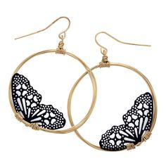 "Butterfly Hoop Earrings.   Night Flight. As though silhouetted against a rising moon, lacy, enameled butterflies flutter inside the hoops of these alluring, imaginative earrings. French hooks. Gold-tone brass. Handcrafted in USA. 2"" long."