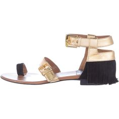 Pre-owned Laurence Dacade Fifi Fringe Sandals (295 CAD) ❤ liked on Polyvore featuring shoes, sandals, gold, black leather shoes, two buckle sandals, black shoes, leather fringe shoes and double buckle shoes