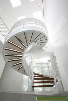 Pure white color metal arc stairs