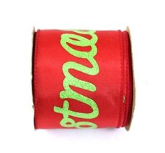 x Red/Lime Merry Christmas Wired Ribbon Christmas Wired Ribbon, Christmas Deco, Merry Christmas, Packaging Supplies, Wreath Supplies, Wreath Forms, Deco Mesh, Lime, Ribbons