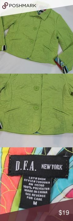 """DFA-NewYork-Green Lightweight-Quilted-Jacket D.F.A. New York green, very light weight, quilted jacket with multi-colored quilted lining.   There are two small pen marks on lower right sleeve. Please refer to the very last picture to see circled pen marks on sleeve.   Jacket specs: - 2 front pockets - 3 front buttons,  - Multi-colored quilted lining  Measurements: Sleeve length - 25 3/4"""" Jacket length -20 1/4""""  Frabic: 100% Polyester D.F.A. New York Jackets & Coats"""