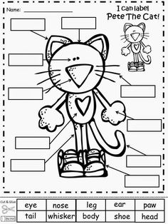 FREEBIE - Pete The Cat (by James Dean and Eric Litwin) Labeling Sheet. Have your students label Pete The Cat after reading about him. Regina Davis aka Queen Chaos at Fairy Tales And Fiction By Kindergarten Literacy, Classroom Activities, Book Activities, Sequencing Activities, Beginning Of School, Pre School, Summer School, Pete The Cats, Cat Activity