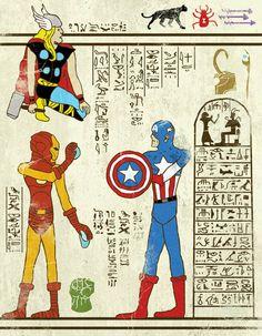 """Avengers - """"Hero-Glyphics"""", ou quand les super-héros s'invitent dans les papyrus de l'Egypte ancienne… Une excellente série mettant en scène Spiderman, Thor, Captain America, ou encore les personnages de Star Trek et les Tortues Ninja ! Des illustrations imaginées par l'artiste Josh LN - Ufunk"""