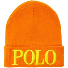 Polo Ralph Lauren Polo Embellished Hat ($36) ❤ liked on Polyvore featuring accessories, hats, beanie, clearance, orange, beanie caps, beanie cap hat, beanie hat, orange beanie and long hat