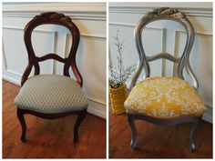 Antique Victorian balloon back parlor chair refinished in Rustoleum's Bright Coat Silver, antiquing glaze & reupholstered!