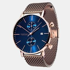Be instantly consumed by the alure of the Ocean Blue Dial & Rose Gold case. Finished in a Rose Gold Mesh Strap, this watch is a true conversation starter.