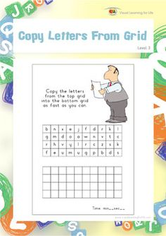 """In the """"Copy Letters From Grid"""" worksheets, the student must copy the letters from the top box to the bottom box as quickly as they can.  Available at www.visuallearningforlife.com on the Visual Perceptual Skills Builder Level 3 CD."""