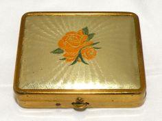 Vintage Guilloche Art Deco Lucite Orange Rose Powder Compact